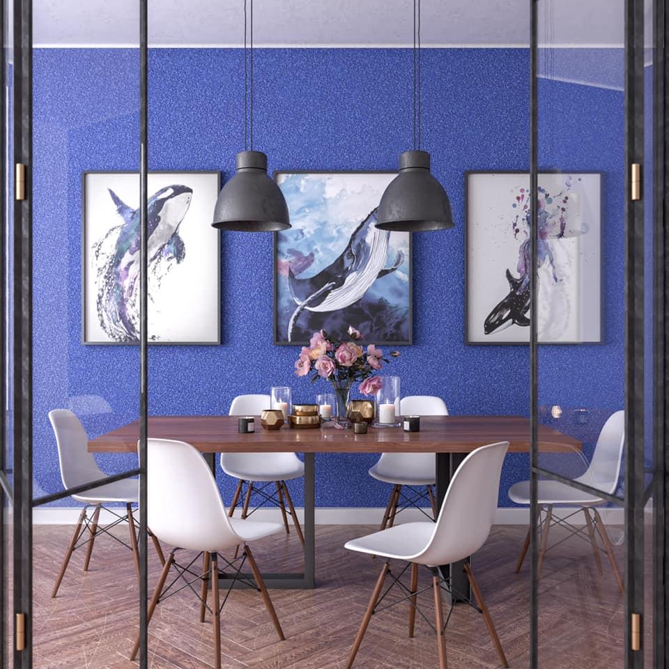 Сини стени с копринена интериорна мазилка SILK PLASTER